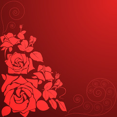 card with vector stylized rose