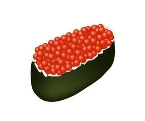Red Caviar Salmon Roe Roll on White Background