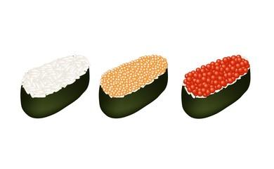 Three Tobiko Roe Sushi on White Background
