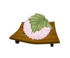 Sakuramochi or Japanese Rice Cake on Geta Plate