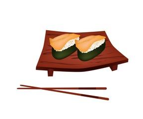 Delicious Sea Urchin Sushi on Geta Plate