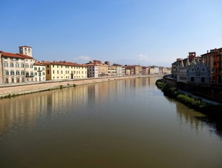 Arno River and Architecture of Pisa, Italy