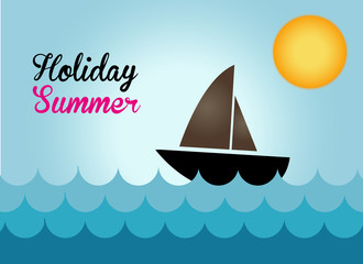 the boat on the sea in holiday summer, boat vector