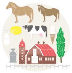 農場と乳製品と牛