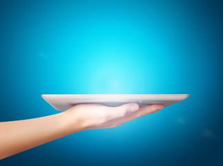 Men show tablet concept