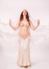 Bellydancer with veil  standing