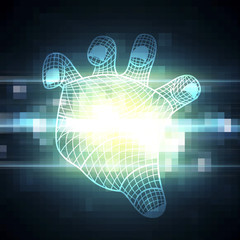 abstract hand and technology digital pixel background illustrati