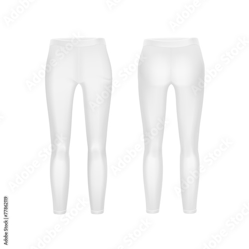 Vector White Leggings Pants Isolated on Background - 77862119