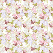 Seamless floral romantic spring pattern background flowers ornam