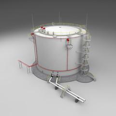 Fuel storage tank on gray background