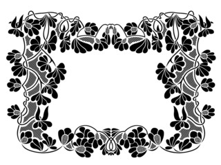 Floral frame isolated on white