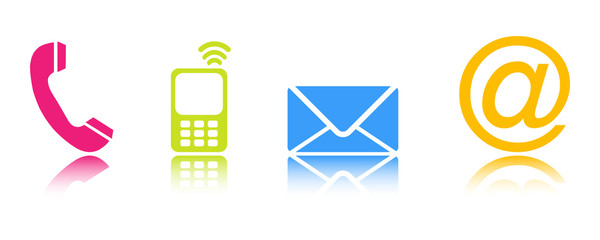 Four colorful contacting  symbols