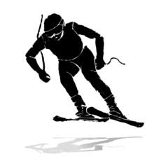 grunge skier runnig
