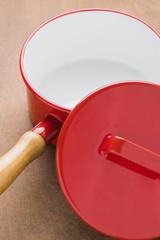 Kitchen utensils red cooking pot