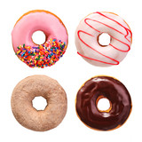 Donuts collection isolated on white background