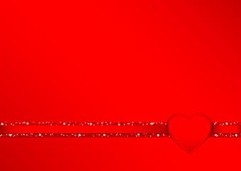 Heart Glitter Ribbon Horizontal Red Background