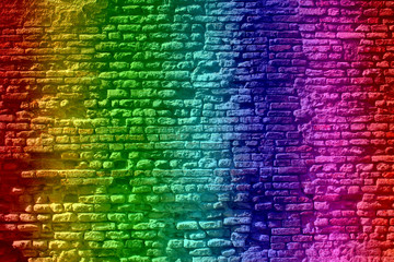 Conceptual old vintage colorful brick wall