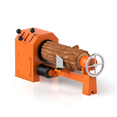 3d illustration. Wood processing, timber and machine on a white