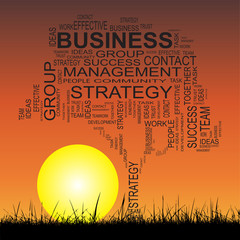 Conceptual business tree at sunset  word cloud