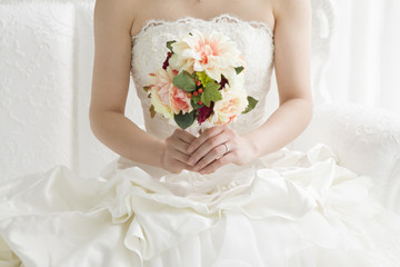 The bride who has a bouquet