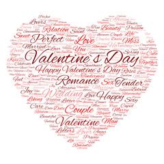 Conceptual Valentine heart word cloud