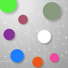 Modern connection modeling background with circles
