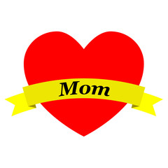 Corazon con cinta Mom