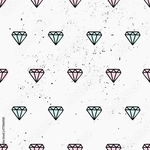 Zdjęcia na płótnie, fototapety, obrazy : Hand Drawn Diamonds Seamless Pattern