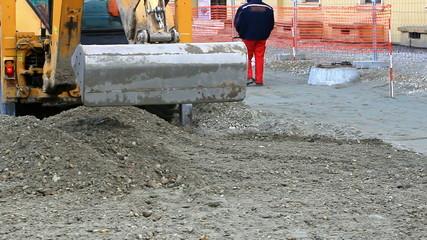 Excavator on street works
