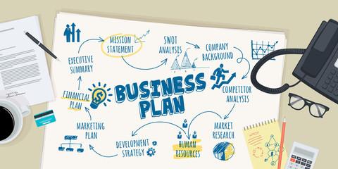 Flat design illustration concept for business plan