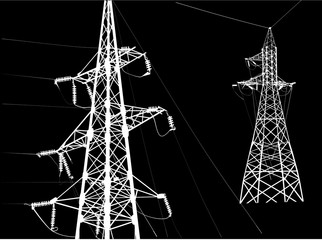 illustration with two white pylons