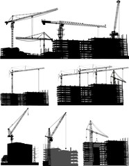 set of house buildings and cranes isolated on white