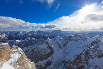 Blick vom höchsten Punkt der Dolomiten (Marmolada)
