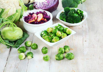 Healthy Farm Vegetables on Top of Wooden Table