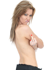 Angry Frustrated Topless Young Woman