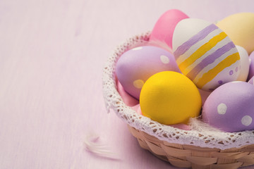 Easter eggs in a wicker basket with space for text