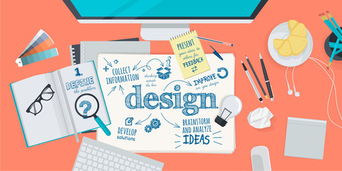 Flat design illustration concept for design process