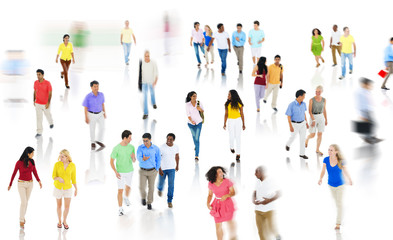 Crowd Diverse People Walking Discussion Isolated Concept
