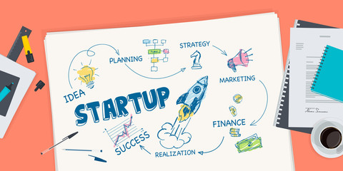 Flat design illustration concept for startup