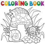 Coloring book toadstool with animals - 77869115