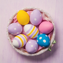 Colorful Easter eggs. Top view