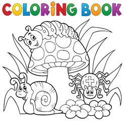 Coloring book toadstool with animals