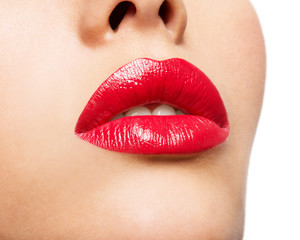 Woman's lips with red lipstick.