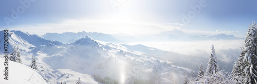 Panoramic view across the French Alps - 77869155
