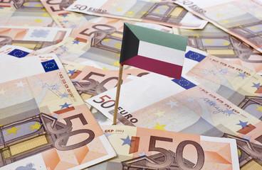 Flag of Kuwait sticking in 50 Euro banknotes.(series)