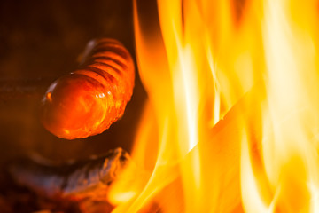 Sausage at fire