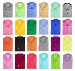 collection of colorful bright men's shirts on a white background