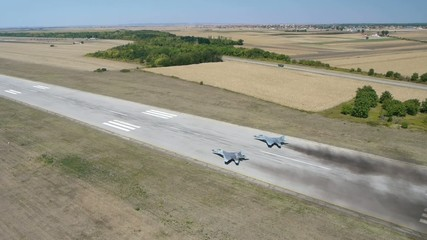 Aerial view of military airplanes exercises