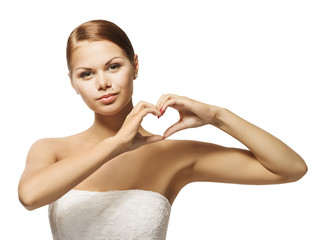 Woman Hands in Heart Shape. Girl Showing Gesture Sign, Health