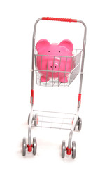 shopping trolley with piggy bank